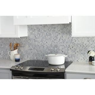 Natural Stone Marble White and Grey Transitional Chevron Polished Mosaic