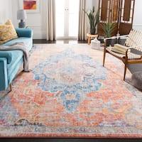 "Safavieh Bristol Vintage Oriental - Blue / Orange Polyester Rug - 5'1"" x 5'1"" square"