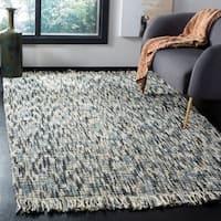 Safavieh Handmade Natural Fiber Casual Stripe - Blue / Ivory Jute Rug - 6' x 6' Square