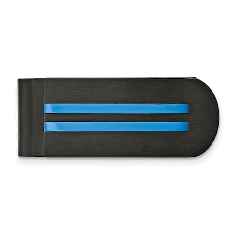 Chisel Stainless Steel Brushed and Polished Black/Blue IP-plated Money Clip