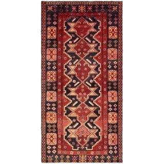 Hand Knotted Hamedan Semi Antique Wool Area Rug - 4' 3 x 8' 7