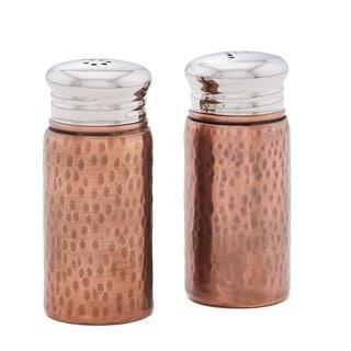 "Hammered Antique Copper Salt & Pepper Shaker Set with Round Top, 3¼"" H."