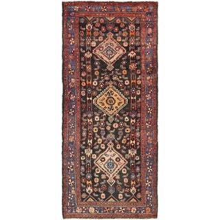 Hand Knotted Hamedan Semi Antique Wool Runner Rug - 3' 5 x 8' 7