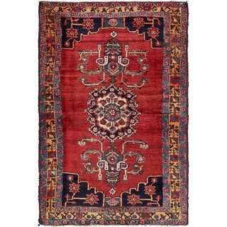 Hand Knotted Hamedan Semi Antique Wool Area Rug - 4' 5 x 6' 8