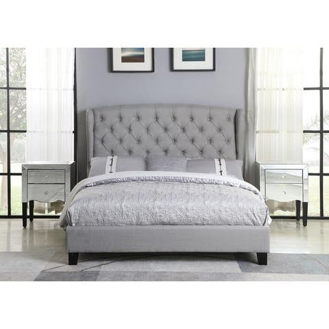 Best Master Furniture Tufted with Wingback Platform Bed