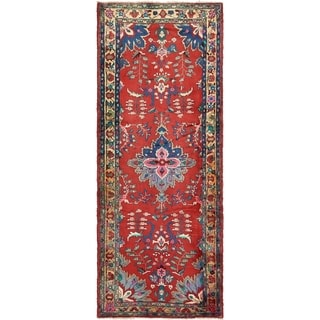 Hand Knotted Hamedan Semi Antique Wool Runner Rug - 4' x 10' 4