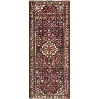 Hand Knotted Hossainabad Semi Antique Wool Runner Rug - 3' 8 x 9' 4