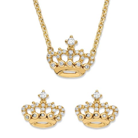 Gold over Sterling Silver CZ Crown Necklace and Earring Set - White