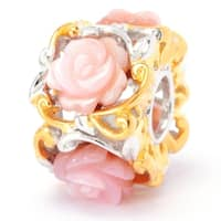 Michael Valitutti Palladium Silver Mother-of-Pearl Carved Roses Slide-on Charm - Pink