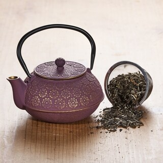 "Purple/Gold Cast Iron ""Cherry Blossom"" Teapot, 22 Oz."