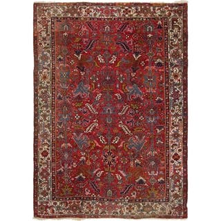 Hand Knotted Heriz Semi Antique Wool Area Rug - 8' X 11'