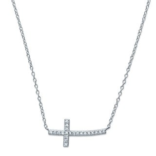 """Sterling Silver Horizontal Cross Necklace CZ 18"""" plus 2"""" extension"""