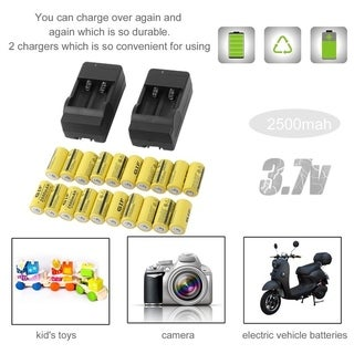 20pcs 2500mAh-GTF Rechargeable Batteries 16340 3.7V Set With 2 Chargers - YELLOW