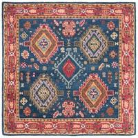 Safavieh Handmade Heritage Traditional Oriental - Navy / Red Wool Rug - 6' X 6' Square