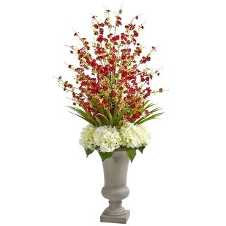 Nearly Natural Cherry Blossom and Hydrangeas Multicolor Artificial Flower Arrangement in Sand-colored Urn