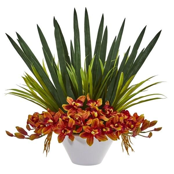 Cymbidium Orchid Artificial Arrangement in White Bowl