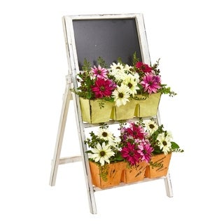 Nearly Natural 31-inch Mixed Daisy Artificial Arrangement in Farmhouse Stand with Chalkboard