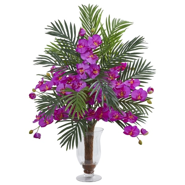 Nearly Natural Phalaenopsis Orchid and Areca Palm Artificial Arrangement