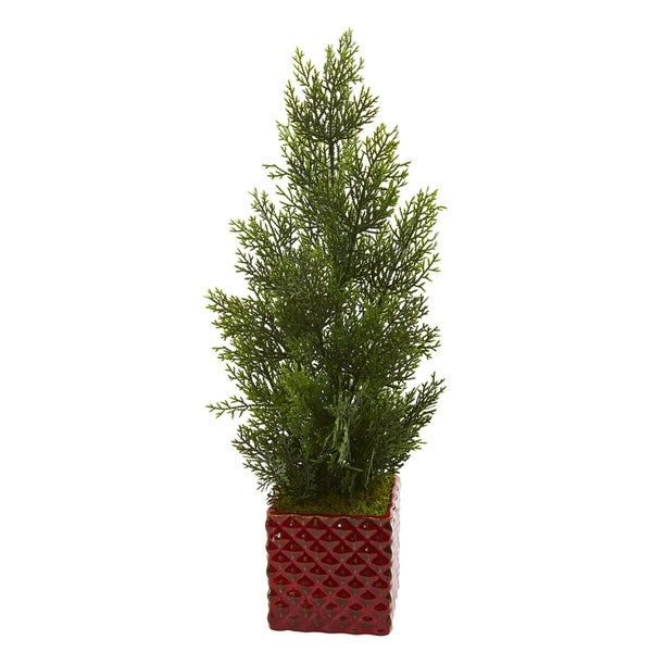 "25"" Mini Cedar Pine Artificial Tree in Red Planter (Indoor/Outdoor)"