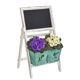 """26"""" African Violet Artificial Plant in Farmhouse Stand with Chalkboard"""