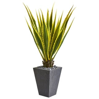 Nearly Natural 4.5-foot Agave Artificial Plant in Slate Planter