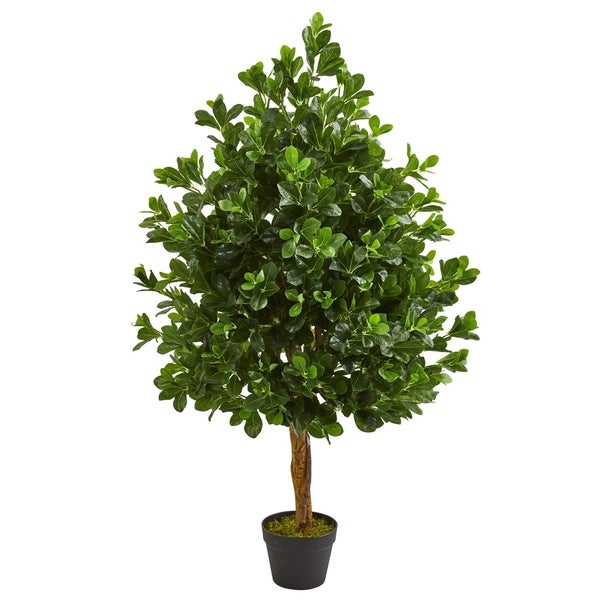 Nearly Natural Green 46-inch Artificial Evergreen Tree in Black Planter