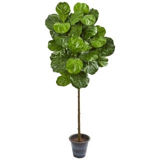 Nearly Natural 5-foot Fiddle Leaf Artificial Tree with Decorative Planter
