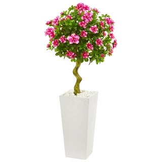 Nearly Natural 4-foot Azalea Artificial Topiary Tree in White Tower Planter