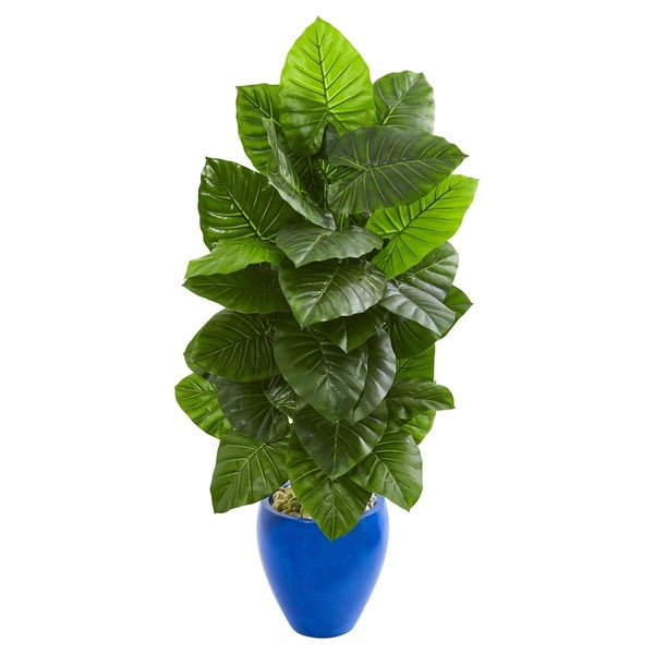 Nearly Natural Green Taro with Blue Planter Artificial Plant