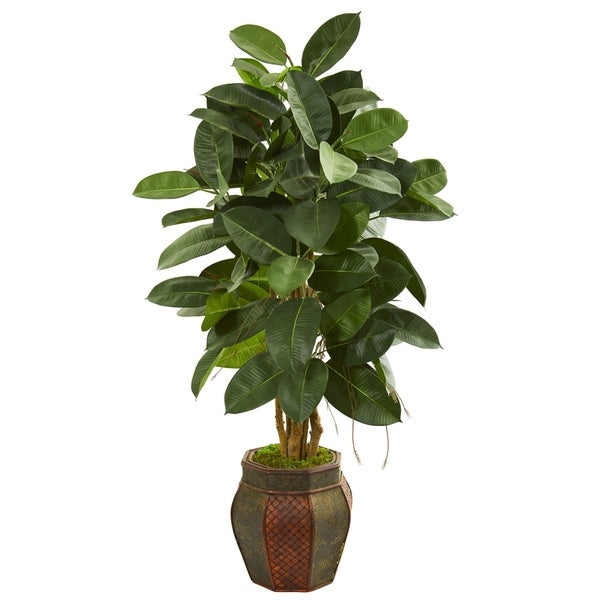 Nearly Natural Rubber Leaf 52-inch Artificial Tree in Decorative Planter