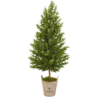 Nearly Natural Green 5-foot Artificial Olive Cone Topiary Tree in Farmhouse Planter