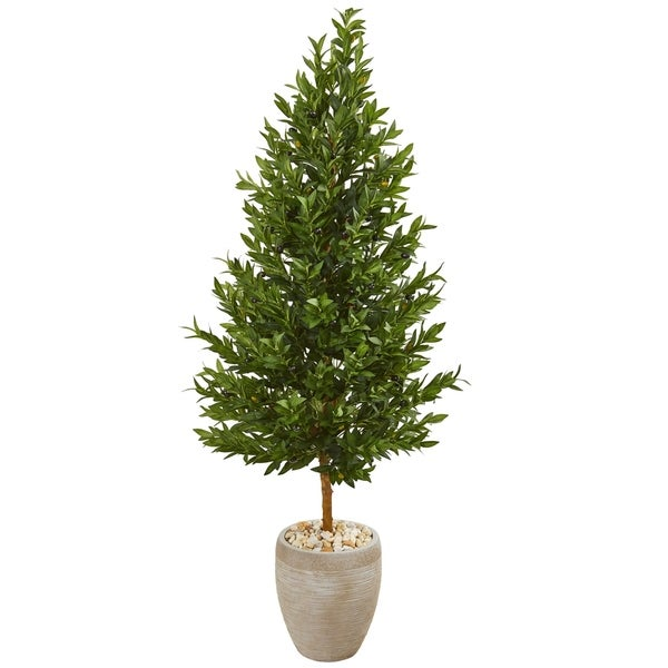 Nearly Natural Olive Cone Topiary Indoor/Outdoor UV Resistant Artificial Tree in Sand Colored Planter