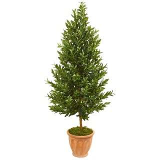 Nearly Natural 5-foot Olive Cone Topiary UV Resistant Indoor/ Outdoor Artificial Tree in Terracotta Planter
