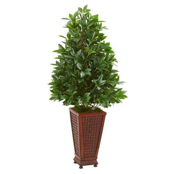 Nearly Natural 4-foot Bay Leaf Artificial Topiary Tree in Decorative Planter