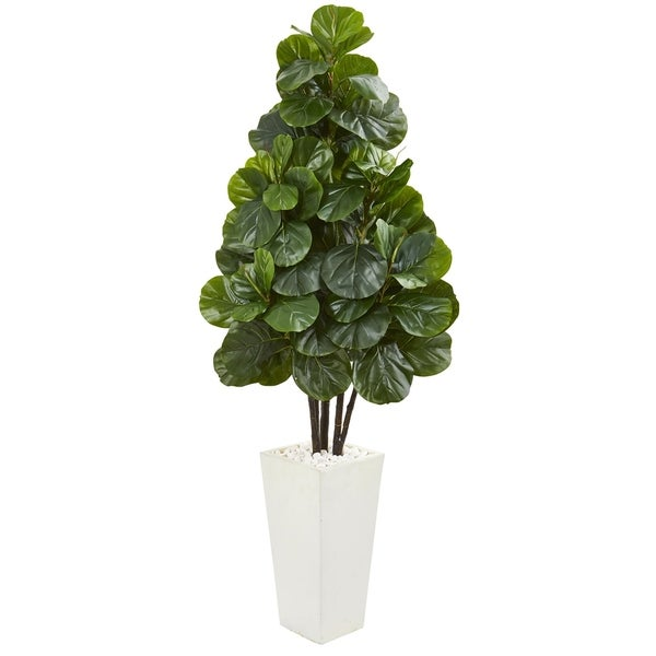 Nearly Natural 68-Inch Fiddle Leaf Fig Artificial Tree in White Tower Planter