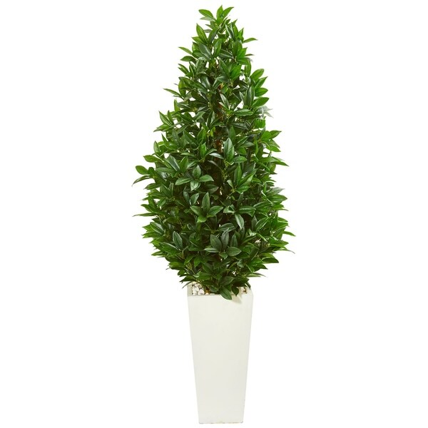 Nearly Natural Bay Leaf Cone Topiary 63-inch UV Resistant Indoor/ Outdoor Artificial Tree in White Planter