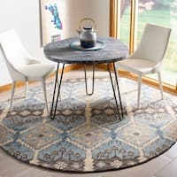 Safavieh Handmade Aspen Bohemian & Eclectic Southwestern - Light Blue / Cream Wool Rug - 7' x 7' Round