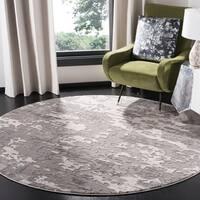 "Safavieh Lurex Modern & Contemporary Abstract - Grey / Light Grey Polyester Rug - 6'7"" x 6'7"" round"