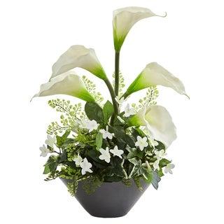 Calla Lily & Stephanotis Artificial Arrangement in Ceramic Vase