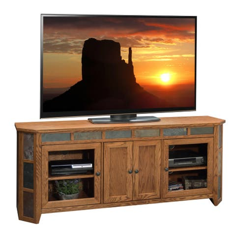 Copper Grove Creusot Golden Oak 72-inch Angled TV Cart