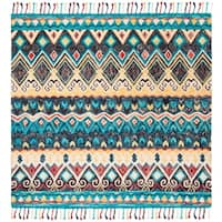 Safavieh Handmade Aspen Bohemian & Eclectic Southwestern - Blue / Red Wool Tassel Area Rug - 7' x 7' Square