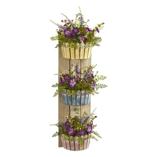 Nearly Natural Purple and Green in Woodtone Planter 3-tier Artificial Morning Glory Wall Decor