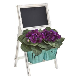 """26"""" Gloxinia Artificial Plant in Farmhouse Stand and Chalkboard"""