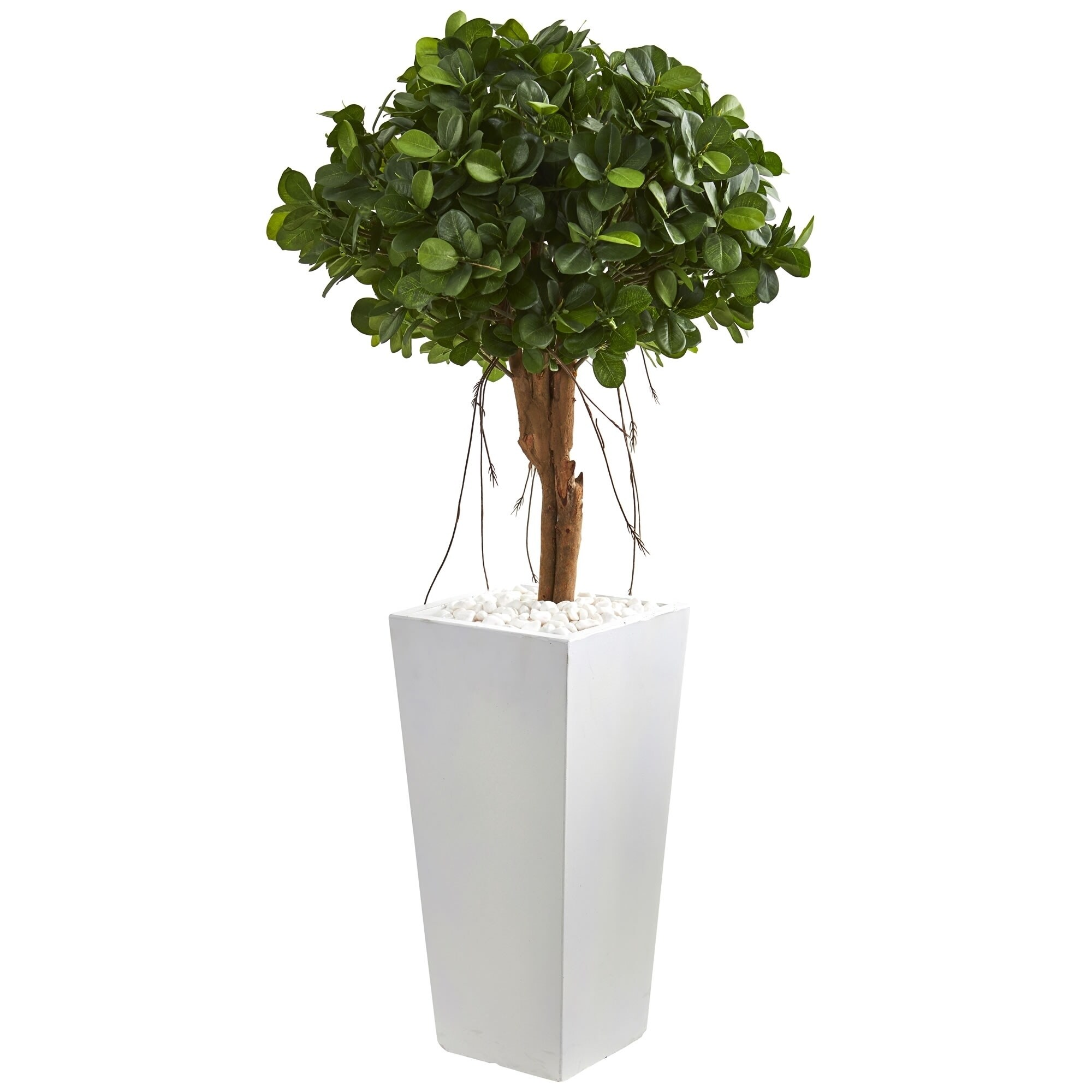 Nearly Natural Ficus 45 Inch Artificial Tree In White Tower Planter On Sale Overstock 23499781