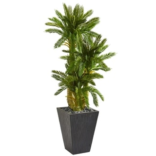 Nearly Natural 4.5-foot Triple Cycas Artificial Plant in Slate Planter