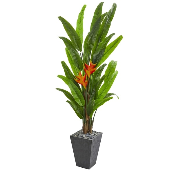 Nearly Natural 6.5-foot Heliconia Artificial Plant in Slate Planter