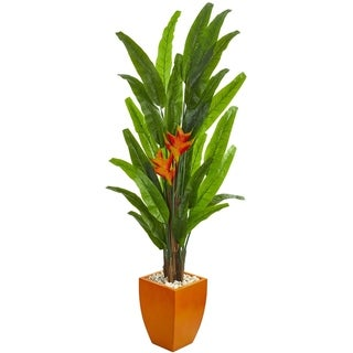 Nearly Natural Heliconia 6.5-foot Artificial Plant in Orange Planter