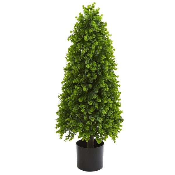 Nearly Natural Eucalyptus Topiary 3-foot Artificial Tree