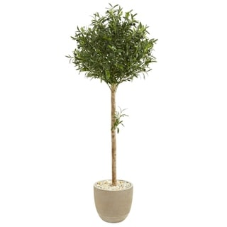 Nearly Natural 5-foot Olive Topiary Artificial Tree