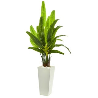 Nearly Natural Green 69-inch Artificial Travelers Palm Tree in White Tower Planter